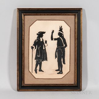 Silhouette Picture of William Penn Making a Treaty with an Indian,Emma M. Long, 1930