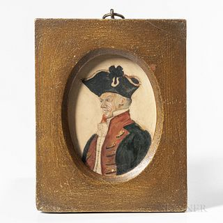 European School, 19th Century  Miniature Portrait of an Officer in a Blue and Red Coat. Unsigned. Watercolor on paper, 3 3/8 x 2 1/2 in., in a gold-pa