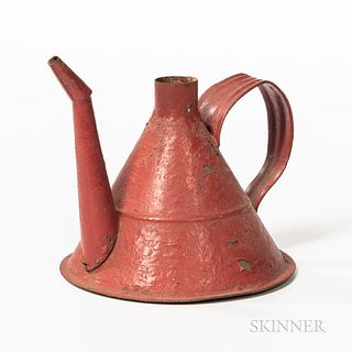 Shaker Red-painted Tin Oil Can,late 19th/early 20th century