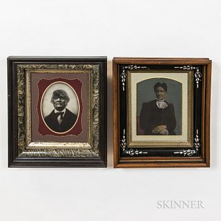 Two Framed Tinted Tintypes of Black Americans,19th century