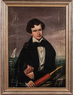 American School, Mid-19th Century  Portrait of a Young Sailor. Unsigned. Oil on canvas, the man seen with a spyglass and ship beyond, 36 x 26 in., fra