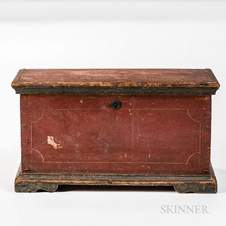 Small Red-painted Chest,America, early 19th century