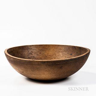 Large Turned Maple Bowl,19th century