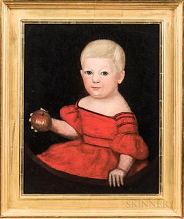 American School, 19th Century  Portrait of a Child in a Red Dress Holding an Apple. Unsigned. Oil on canvas, 20 x 16 in., in a modern frame. Condition
