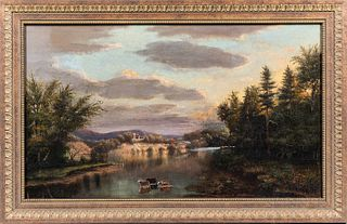 American School, Late 19th Century  Connecticut River View, Brattleboro, Vermont. Signed and dated indistinctly l.l. Oil on canvas, 16 3/4 x 28 in., i