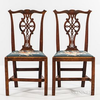Pair of Chippendale Carved Mahogany Side Chairs,Massachusetts, c. 1760-80