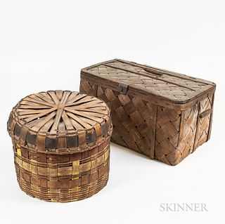 Picnic Basket and Painted Lidded Basket