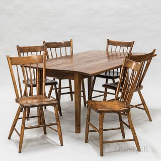Pine Drop-leaf Table and Six Birdcage Windsor Chairs