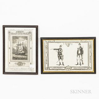 Two Framed Early Engravings Pertaining to the American Revolutionary War,18th century