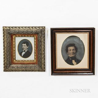 Four Framed Tinted Tintypes of Men