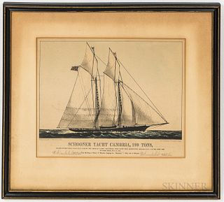 Currier & Ives Framed Schooner Yacht Cambria, 199 Tons