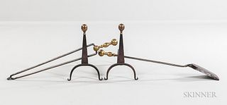 Pair of Small Brass and Iron Belted Ball-top Andirons and Two Ball-top Tools,early 19th century