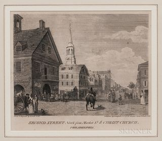 William Russell Birch (Anglo/American, 1755-1834)Second Street North from Market Street with Christ Church Philadelphia