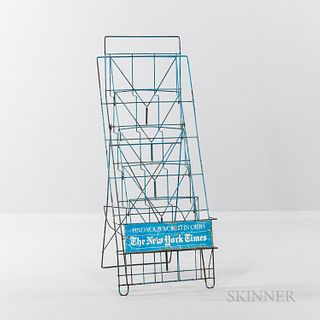 Blue-painted Wire New York Times Retail Paper Stand/Rack,mid-20th century.