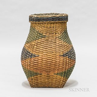 Early Large Painted Woven Splint Feather Basket and Cover