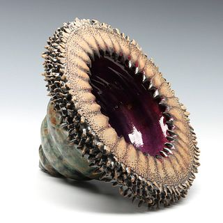 A STUDIO POTTERY SCULPTURE RESEMBLING AN ANEMONE