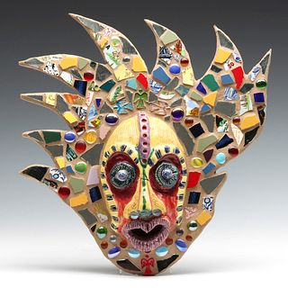 A LATE 20TH CENTURY ARTIST SIGNED MOSAIC MASK