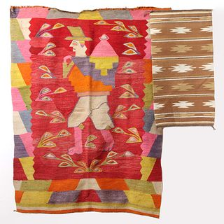 A SOUTH AMERICAN PICTORIAL WEAVING AND NAVAJO RUG