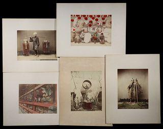 (5) JAPANESE MEIJI PERIOD HAND COLORED ALBUMEN PHOTOS