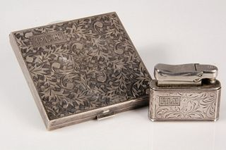 SILVER COMPACT & LIGHTER