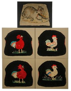 (5) MOUNTED FIGURAL NEEDLEPOINT SEAT COVERS