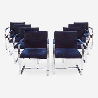 "After Ludwig Mies van der Rohe (American, b. Germany, 1886-1969), Set of Eight ""BRNO"" Style Armchairs, Gordon International, New Yor..."