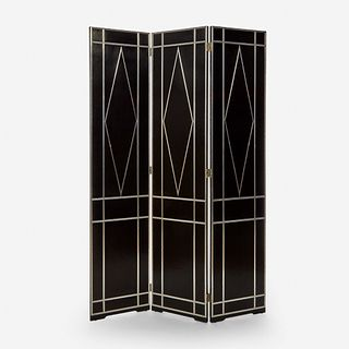 In the Style of Josef Hoffmann (Austrian, 1870-1956), Three-Panel Folding Screen, 20th century