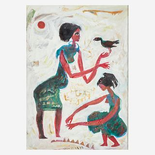 Hamed Nada (Egyptian, 1924-1990), , Untitled (Two Women and a Bird)