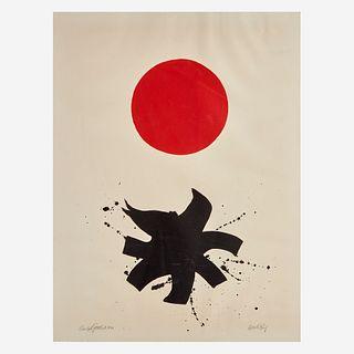 Adolph Gottlieb (American, 1903-1974), , Black Splash Under Red Sphere