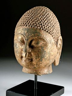 Chinese Qi Dynasty Gilded Stone Buddha Head