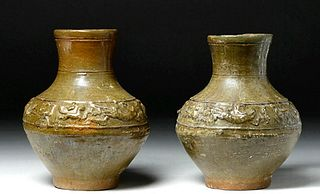 Chinese Han Dynasty Glazed Hu Vases Matched Pair