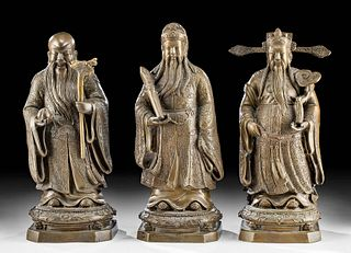 Three 19th C. Chinese Brass Figures of Star Deities