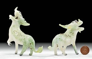 Chinese Qing Dynasty Glass Longmas / Winged Horses