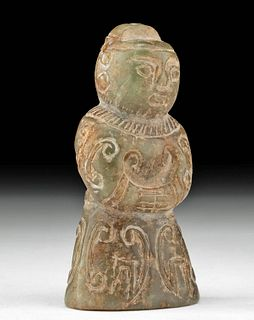 Chinese Qing Dynasty Nephrite Jade Standing Figure