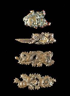 Japanese Meiji Copper Menuki - Dragons, Archer, Leaf