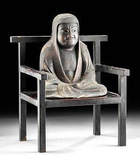 Early 20th C. Japanese Wood Chair + Seated Daruma