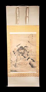 Japanese Meiji Scroll Painting, Shoki the Demon Queller