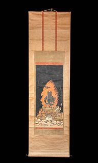 19th C. Japanese Scroll Painting of Fudo Myoo with Box