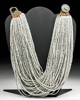20th C. Indian Naga Multistrand Glass Bead Necklace