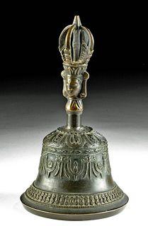 19th C. Tibetan Bronze & Brass Ceremonial Bell w/ Dorje