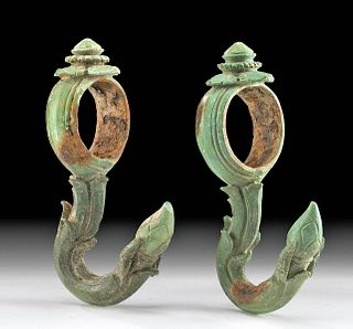 12th C. Cambodian Khmer Bronze Palanquin Hooks