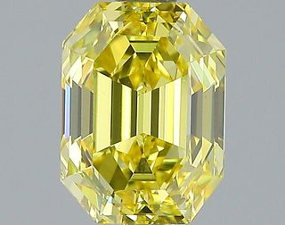 2 ct., Fancy Vivid Yellow/VS1, Emerald cut diamond, unmounted, PP6482-001