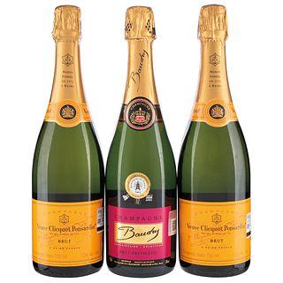 Champagne. a) Veuve clicquot ponsardin. b) Baudry. Total de piezas: 3.