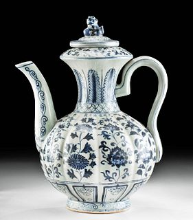 19th C. Chinese Qing Pottery Lidded Pitcher