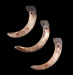 Early 20th C. Fillipino Ifugao Boar Tusk Pendants (3)