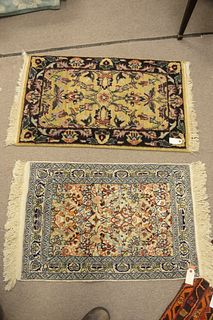 """Two Oriental Matts, 2' x 2'10"""" and 2' x 3'3""""."""