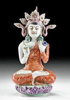 20th C. Chinese Porcelain Guanyin, Lotus Position