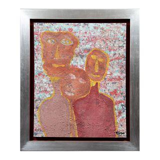 """ELISEO """"ELGAR"""" GARZA Sin título Firmada al frente y al reverso Técnica mixta sobre tela Enmarcado 78 x 65 cm"""