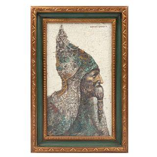 ROGELIO HERMOSILLO REMBAUD. Retrato de anciano. Firmado y fechado '71 al frente. Técnica mixta sobre tabla. Enmarcado.