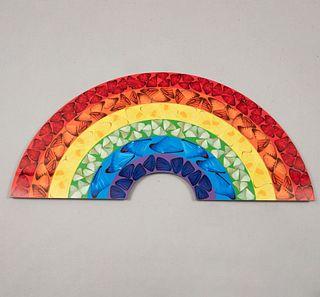 """DAMIEN HIRST. """"Butterfly Rainbow (Small)"""", 2020. Etiqueta con firma impresa. Giclée impreso en acrílico sobre panel de aluminio."""